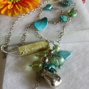 NEW! Long Stone & Bead Boho Tassel Necklace Turq
